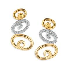 TANISHQ 18KT YELLOW GOLD FINISHED DROP EARRING WITH BRILLIANT CUT DIAMONDS.