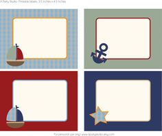 Free blank sailboat labels. Great for party favors, gift tags, buffet table, etc. Love the nautical theme for a 1st birthday party. <3