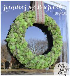 Reindeer moss wreath tutorial ++++ Corona de musgo DIY facil barata Explicaciones +++  Mousse couronne tutoriel  +++  Corona di muschio Tutorial    home sweet blog