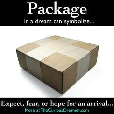 Dream dictionary meaning for the dream symbol: package. Dream Psychology, Psychology Facts, Lucid Dreaming, Dreaming Of You, Dream Interpretation Symbols, Facts About Dreams, Understanding Dreams, Dream Dictionary, Dream Symbols
