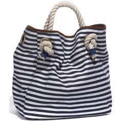 Street Level Nautical Stripe Canvas Tote Blue One Size - Polyvore