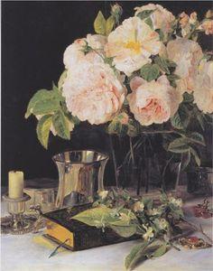 Roses in glass - Ferdinand Georg Waldmüller