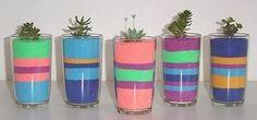 areia colorida para decoração de vasos, vidros, aquários etc