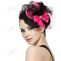 Feather Bow Hair Clip Lace Pink Mini Top Hat Party Lolita Cosplay Goth