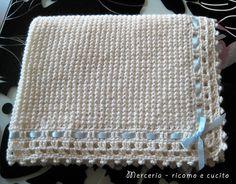 Copertina panna in lana per neonato – GIFT Bambino All uncinetto a24289acb6a8