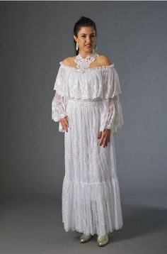 Best Western Wear: A Nostalgic Western Wedding Romantic Lace Peasant Top And Skirt Romantic Lace, Romantic Weddings, Western Dresses, Western Wear, Wedding Skirt, Lace Ruffle, Peasant Tops, On Your Wedding Day, Dress Up