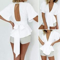 Blusas en terlenca Irina His Secret Obsession Earn Commissions On Front And Backend Sales Promoting His Secret Obsession - The Highest Converting Offer In It's Class That is Taking The Women's Market By Storm White Peplum Tops, White Short Sleeve Blouse, Sexy Shorts, Fashion Outfits, Womens Fashion, Fashion Trends, Fashion Scarves, Latest Fashion, Fashion Design