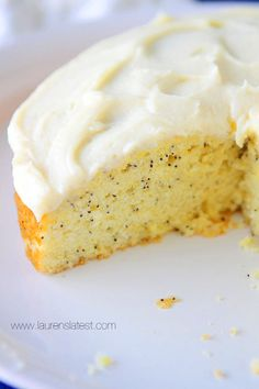 Lemon Poppyseed Cake with Cream Cheese Frosting--As you can imagine, this was a pretty dreamy treat. A bit on the dense side because it's pound cake, but still moist, light and very lemony. My favorite flavor probably ever.