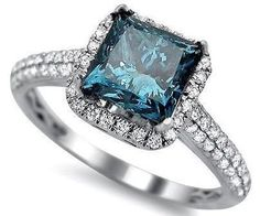 1.84ct Blue Princess Cut Diamond Engagement Ring 18k White Gold / Front Jewelers Cinderella Engagement Rings, Diamond Engagement Rings, Gold Fronts, Princess Cut Diamonds, Colored Diamonds, Heart Ring, White Gold, Jewels, Blue
