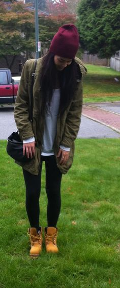 timberlands + leggings + evergreen jacket + cranberry beanie = fall