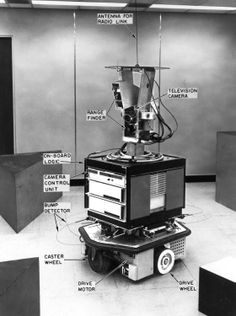 """From 1966 through 1972, the Artificial Intelligence Center at SRI International (then Stanford Research Institute) conducted research on a mobile robot system nicknamed """"Shakey."""""""