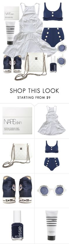 """""""Untitled #21682"""" by florencia95 ❤ liked on Polyvore featuring NARS Cosmetics, Chanel, Lisa Marie Fernandez, Converse, Essie and Pirette"""