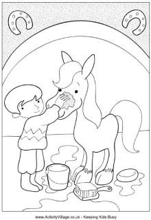horse grooming colouring page