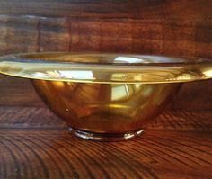 Yellow Amber depression glass console bowl by HudsonValleyVintage, $19.99