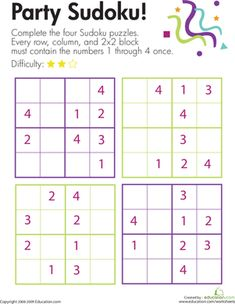 On this fun second grade math worksheet, kids use their logical reasoning and critical thinking skills to solve four Sudoku number puzzles.