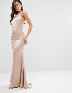 Jarlo High Neck Satin Maxi Dress with Lace Up Back | Long Skater Dresses | Occasion Dresses
