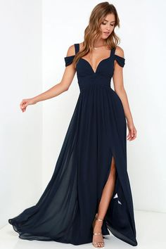 From posh prom or lavish cocktail party, and from sea to shining sea, the Bariano Ocean of Elegance Navy Blue Maxi Dress will have you in the lap of luxury wherever you may go! Navy blue Georgette starts this exquisite ensemble off with tank straps joined Navy Evening Dresses, Navy Blue Evening Gown, Navy Blue Prom Dresses, Blue Maxi, Maxi Dresses, Navy Maxi, Blue Gown, Navy Chiffon Dress, Party Dresses
