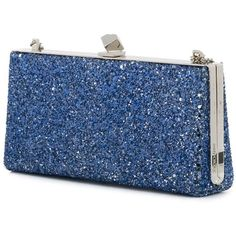 Jimmy Choo Celeste clutch (€530) ❤ liked on Polyvore featuring bags, handbags, clutches, glitter purse, blue leather handbags, leather purses, real leather purses and jimmy choo clutches