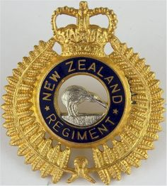 New Zealand Regiment Officers' cap badge Rule Britannia, Commonwealth, Badges, Empire, British, Military, Cap, Baseball Hat, Federal