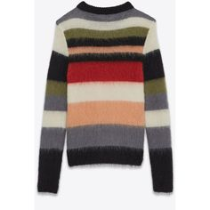 Saint Laurent Crewneck Sweater ($1,205) ❤ liked on Polyvore featuring men's fashion, men's clothing, men's sweaters, mens long sweater, mens crew neck sweaters and mens crewneck sweaters