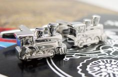 Train Engine Cufflinks Silver Old TIme Cuff by PerfectCufflinks