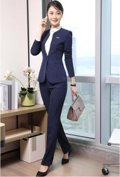 7bc64e1a3285f Fashion business women stripes skirt suit set Spring formal slim long  sleeve blazer with skirt office ladies plus size work wear