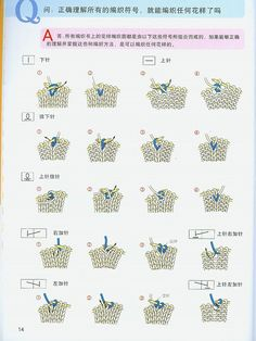 Japanese Knitting Symbols to go with Hitomi Shida book from… Knitting Stiches, Knitting Books, Knitting Charts, Knitting Patterns Free, Hand Knitting, Lace Patterns, Stitch Patterns, Textile Patterns, Japanese Crochet
