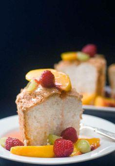 Gluten Free Angel Food Cake with Peach Sangria Sauce Recipe
