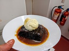 Sticky Toffee pudding, with homemade sticky toffee sauce and a quanelle of vanilla bean ice cream 😜 Homemade Sticky Toffee Pudding, Sticky Toffee Pudding Cake, Pudding Recipes, Cake Recipes, Volcano Cake, Pudding Cupcakes, British Desserts, Date Cake, Toffee Sauce