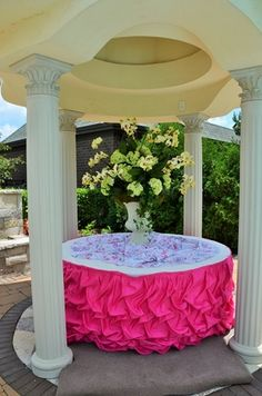 """Fairy Tale Tents & Events - Frankfort, IL - 60"""" round table with ivory linen and fuchsia lamour satin gathered skirting"""