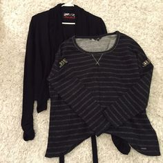 2 Guess black sweaters bundle Two Guess sweaters! Both in very good condition! Tie sweater: Missing metal guess logo piece off one tie. Has elastic bunch at bottom of the sleeves. Super cute! Made from rayon, nylon, and spandex. Black metallic sweater: 95% cotton and 5% metallic. Has lots of rhinestone and metal embellishments. Says size small but is big more like medium or large. Smoke free pet free home. Guess Sweaters Cardigans