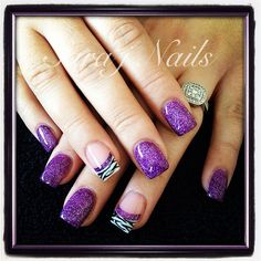 Acrylic Nail Design. Love the purple not so much the zebra