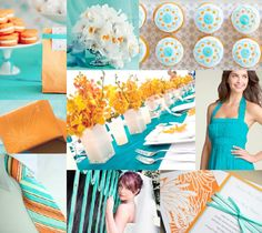 Teal/blue and orange wedding