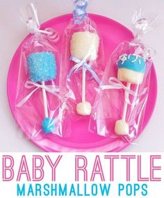 Baby rattle marshmallow pops - a cute baby shower favor! So doing this at my sweet soon to arrive granddaughter's baby shower! Baby Shower Simple, Baby Shower Fun, Baby Shower Gender Reveal, Shower Party, Baby Shower Parties, Baby Boy Shower, Shower Cake, Baby Gender, Homemade Baby Shower Favors