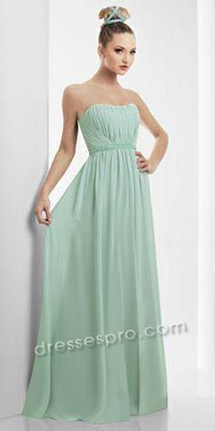 Mint green Grecian evening gown. Pretty.  The model's hair looks weird though...