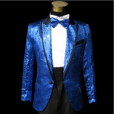 5 Piece Men Blue Sequin Fitted Wedding Prom Dress Suits Tuxedo Tux Formal Wear SKU-123181