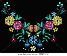 Vector design for collar t-shirts and blouses. Colorful ethnic flowers neck line. Embroidery for Fashion. Embroidery Patterns, Hand Embroidery, Fashion Vector, At Home Workout Plan, Embroidered Clothes, Vector Design, Barbie Dolls, Pattern Design, Collars