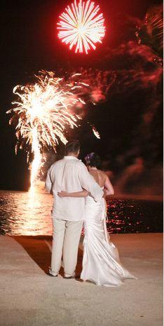 Beautiful wedding fireworks in the Florida Keys at the Coconut Cove Resort.  www.eddieb.com/Keys_DJ.aspx