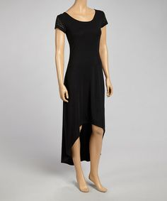 Another great find on #zulily! Black Cutout-Back Hi-Low Dress - Women #zulilyfinds