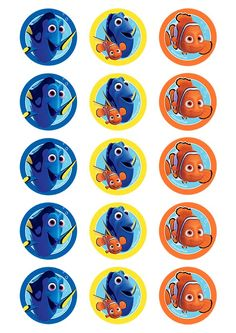 Finding Dory cupcake images 50mm diameter.