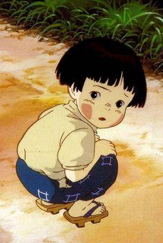 Setsuko (Grave of the Fireflies dir. Totoro, Studio Ghibli Art, Studio Ghibli Movies, Hotaru No Haka, Firefly Art, Personajes Studio Ghibli, Grave Of The Fireflies, Cute Cat Memes, Japanese Animated Movies