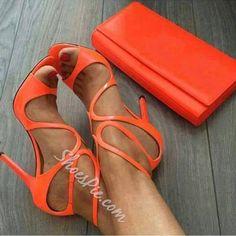 Shoespie Bright Orange Stiletto Dress Sandals Hot Shoes, Women's Shoes, Shoe Boots, Wedge Shoes, Shoes Style, Ankle Boots, Orange Sandals, Orange Shoes, Stilettos