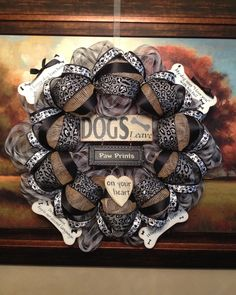 Dogs leave paw prints in your heart.  Custom deco mesh wreath for Angie!