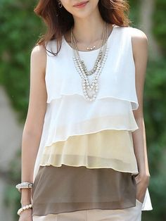 Round Neck Multilayer Assorted Color Sleeveless-t-shirt | fashionmia.com