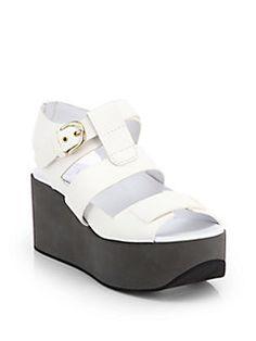 Jil Sander Navy - Leather Platform Wedge Sandals