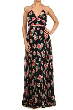 Rose Print Full Length Halter Maxi Dress