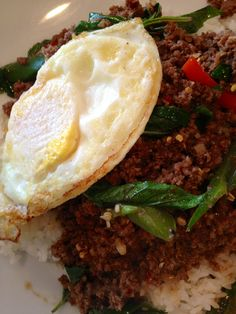 Hot Basil Thai Cuisine (Overland Park) - Gapow with beef and fried egg.