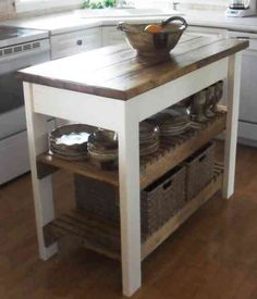 fabriquer un îlot de cuisine avec plan de ttravail en bois