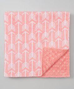 Look at this #zulilyfind! 19'' x 19'' Coral & White Arrow Minky Stroller Blanket #zulilyfinds