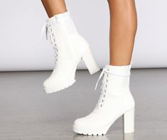 Windsor Total Command Combat Booties in White White High Boots, White Lace Boots, Lace Up Heels, Dress And Heels, White Heals, Combat Boots Heels, Nylons, Aesthetic Shoes, Cute Boots